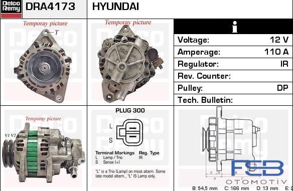 ALTERNATÖR 12V 110A HYUNDAI STAREX H1